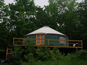 This is a yurt. In fact, it's Autumn's yurt, stolen right from her website http://www.nomapnomad.com/2013/02/20/home-sweet-yurt/